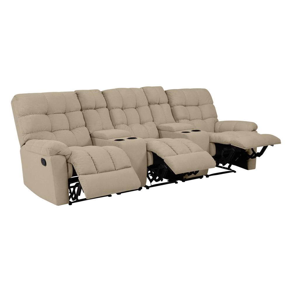 Sofas And Stuff Reviews Prolounger 3 Seat Tufted Recliner Sofa With 2 Storage Consoles And Usb Ports In Barley Tan Plush Low Pile Velvet