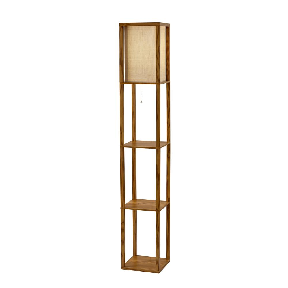 Etagere Otto Adesso Wright 63 In Natural Wood Veneer Floor Lamp