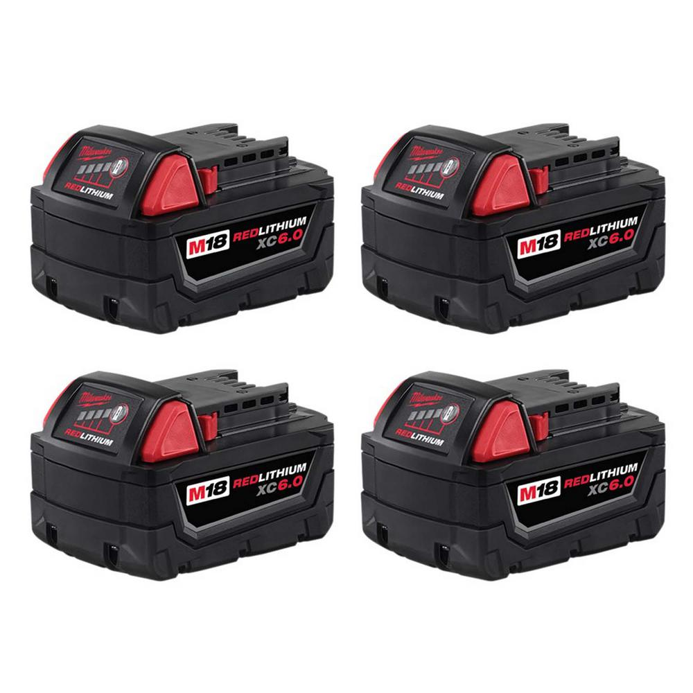 Milwaukee M18 Battery Milwaukee M18 18 Volt Lithium Ion Xc Extended Capacity Battery Pack 6 0ah 4 Pack