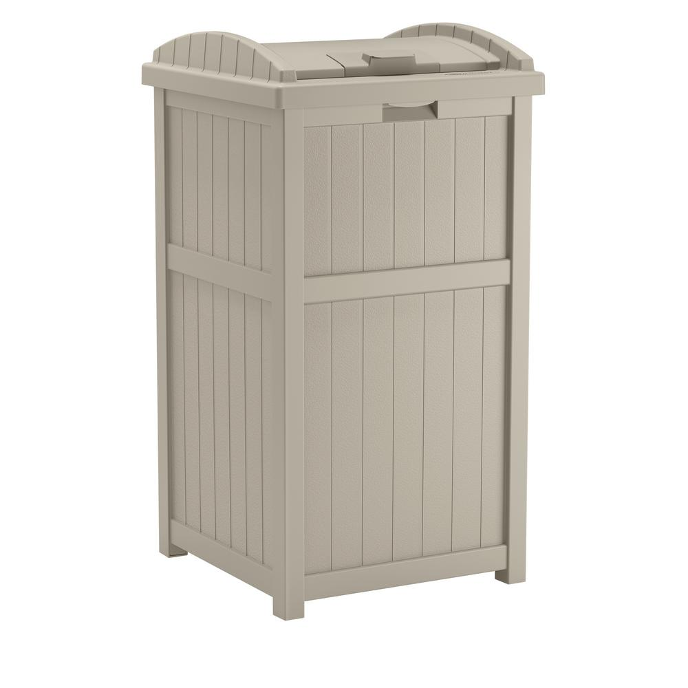 Outdoor 33 Suncast 33 Gal. Resin Taupe Outdoor Trash Can-gh1732 - The ...