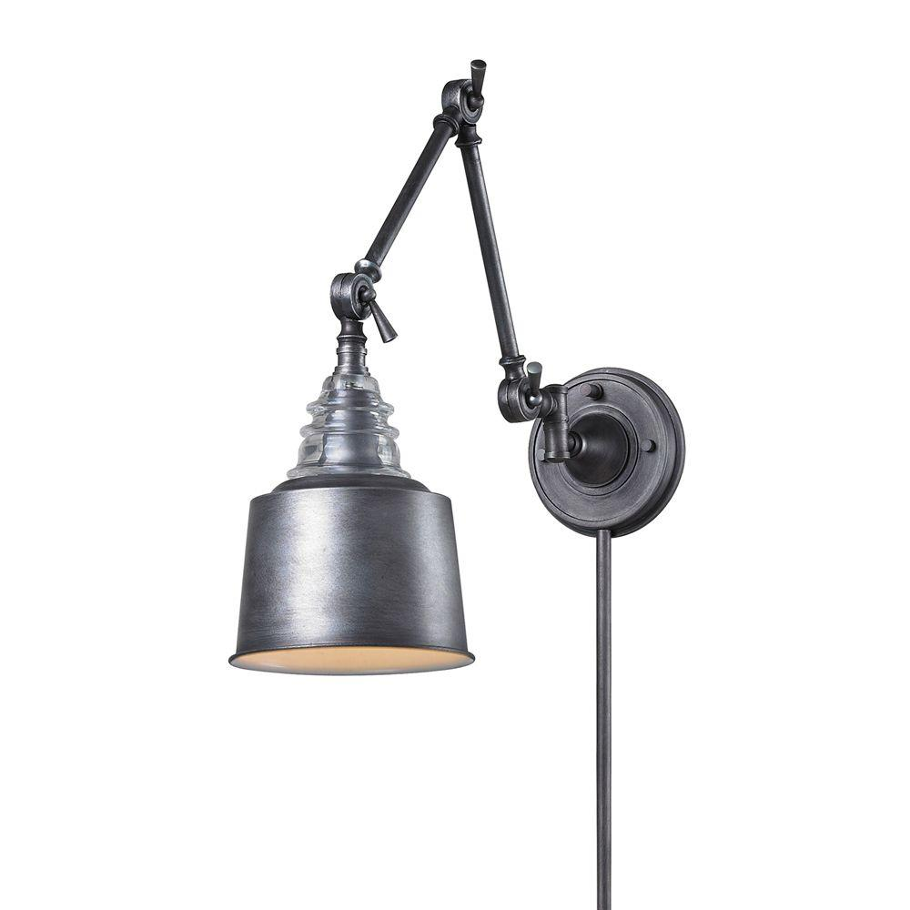 Industrial Swing Arm Lighting Insulator Glass 1 Light Weathered Zinc Wall Mount Swing Arm Sconce