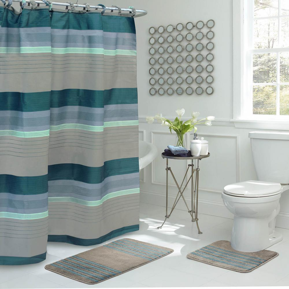 Bath With Shower Regent Stripe 30 In L X 18 In W 15 Piece Bath Rug And Shower Curtain Set In Blue And Grey