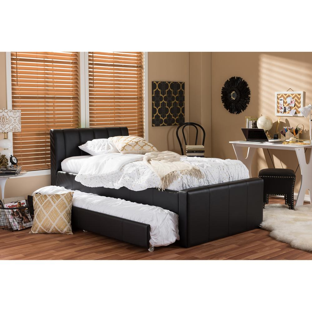 Discount Trundle Beds Baxton Studio Cosmo Black Faux Leather Twin Size Trundle Bed