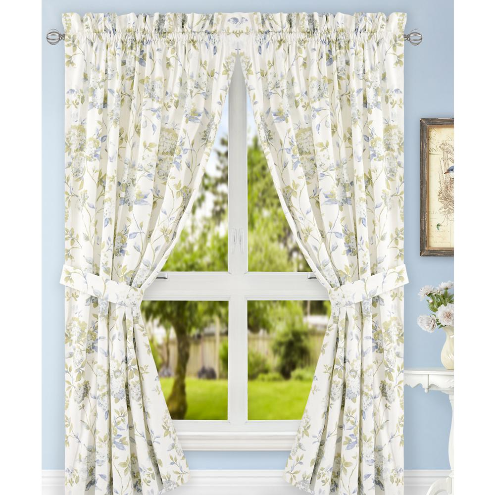 Traditional Curtains Abigail Porcelain Polyester Cotton Tailored Pair Curtains With Ties 90 In W X 63 In L