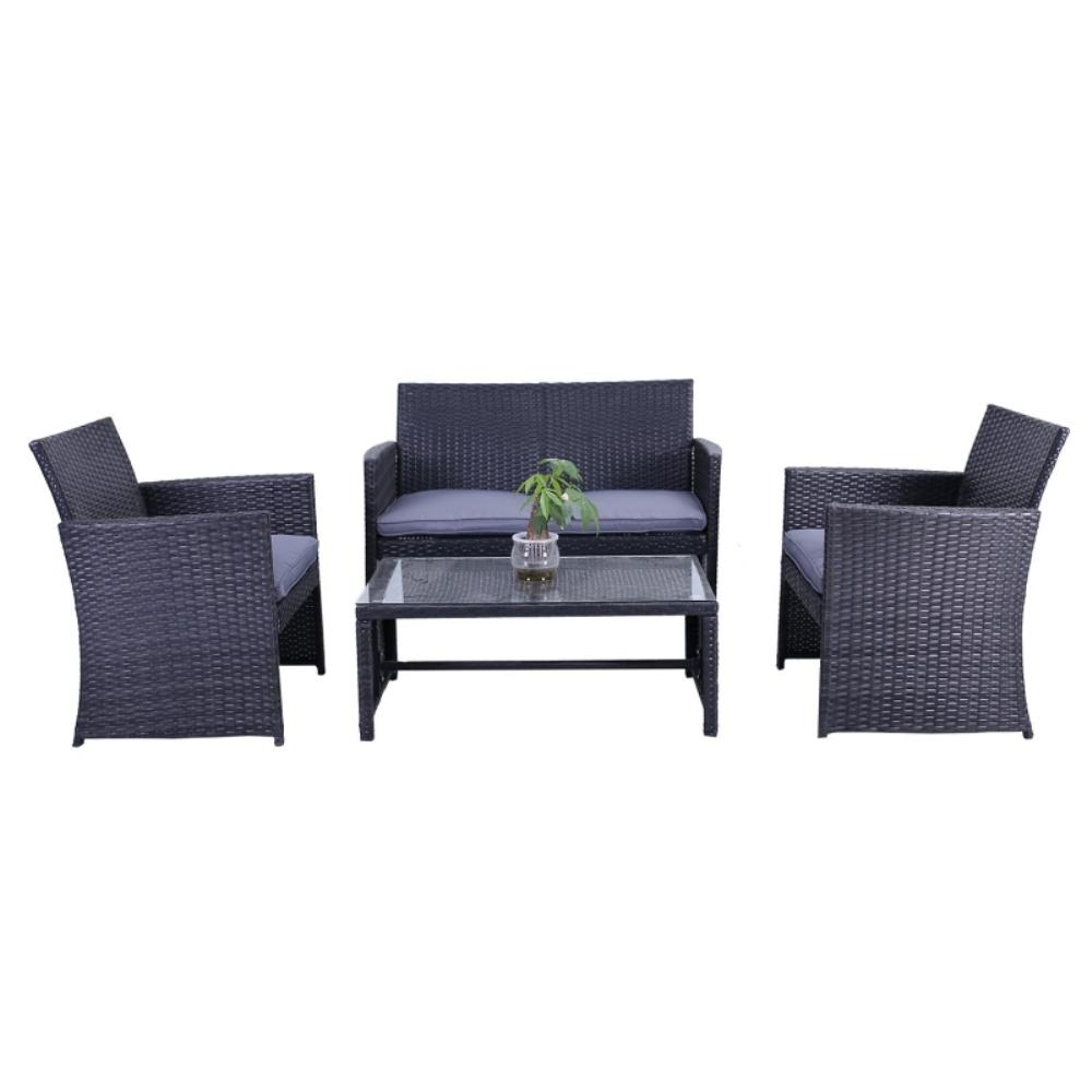 Rattan Sofa Near Me Aleko Manhattan 4 Piece Rattan Furniture Set In Black With Grey Cushions