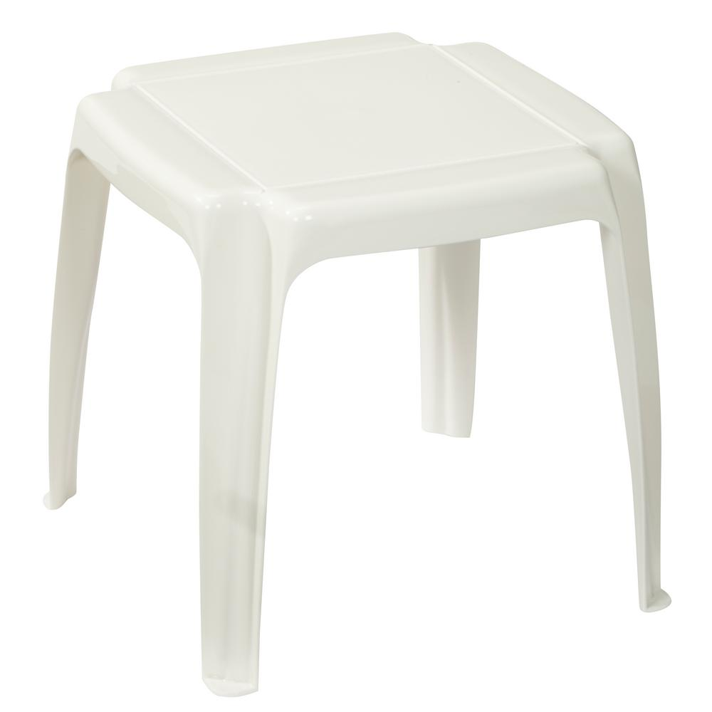 White Patio Side Table 231722 The Home Depot