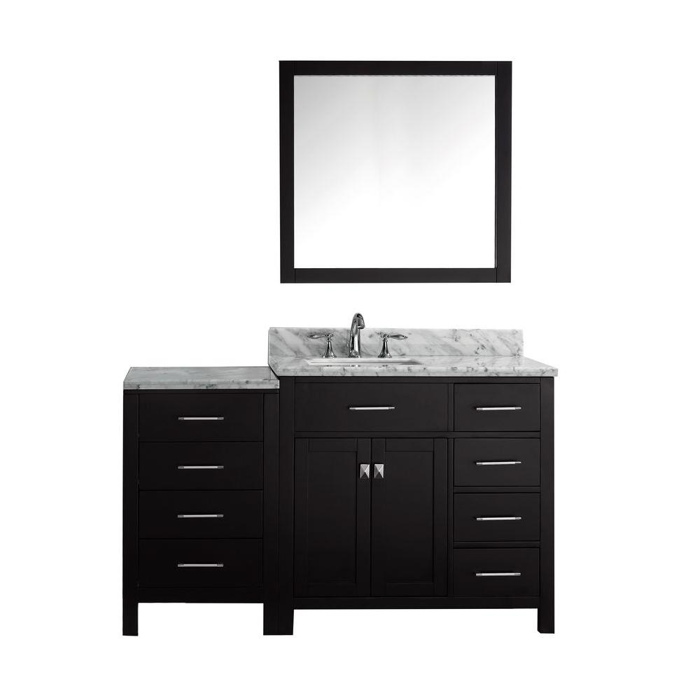 56 Bathroom Vanity Virtu Usa Caroline Parkway 56 In W Bath Vanity In Espresso With Marble Vanity Top In White With Square Basin And Mirror