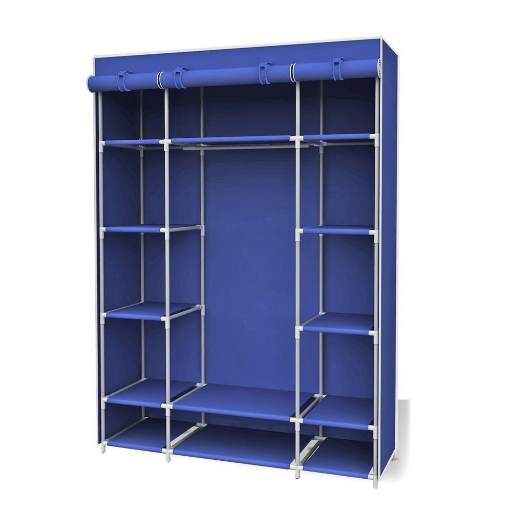 Storage Closet Sunbeam 18 In X 67 In Navy Storage Closet Portable Wardrobe With Shelf