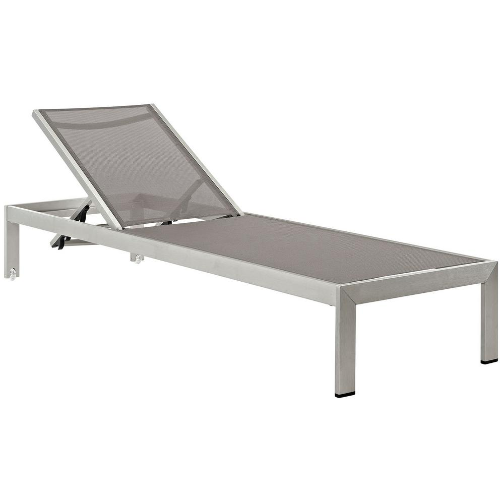 White Sun Lounge Modway Shore Mesh Silver Gray Aluminum Outdoor Patio Chaise Lounge