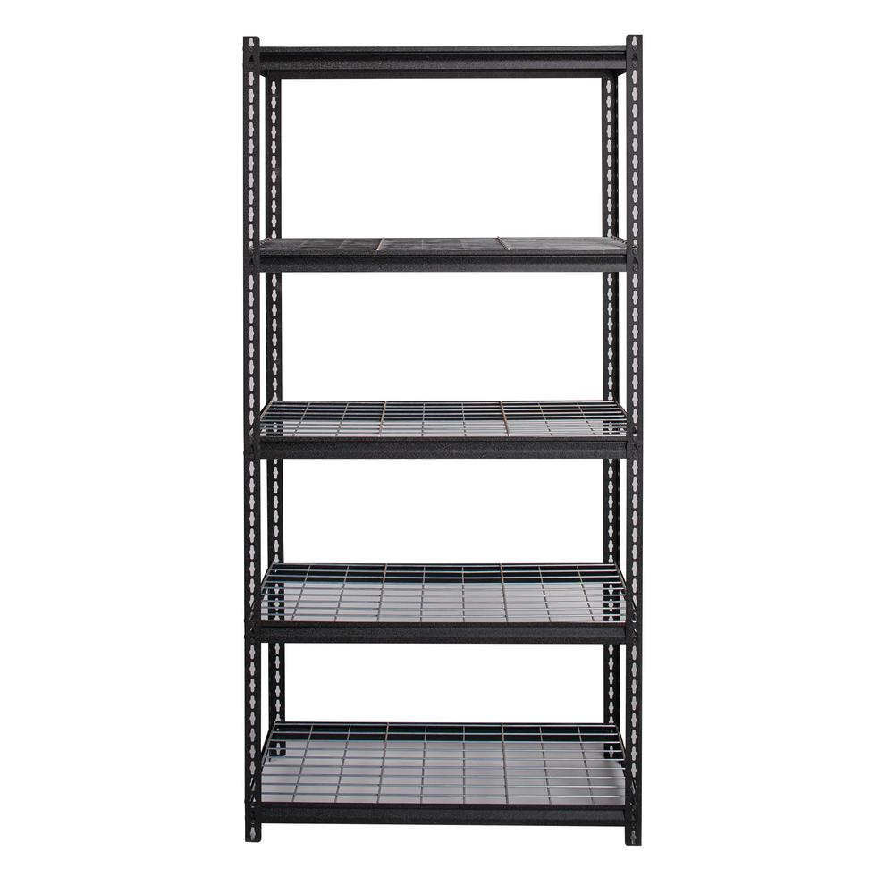 Garage Shelving Units Iron Horse 2300 Series 18 In D X 36 In W X 72 In H Wire Deck Adjustable 5 Tier Garage Shelving Unit