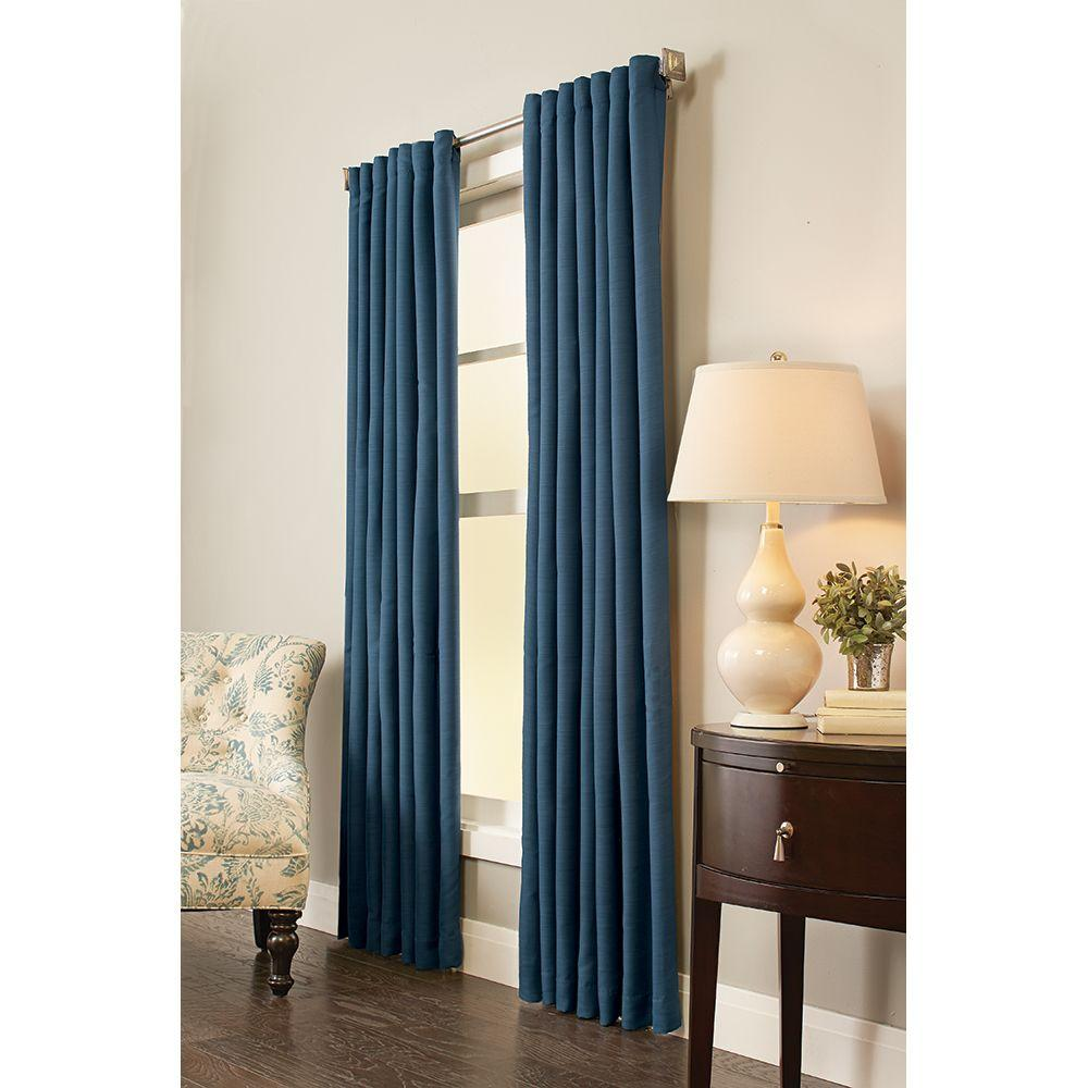 Curtains For A Blue Room Home Decorators Collection 54 In W X 84 In L Room Darkening Window Panel In Indigo