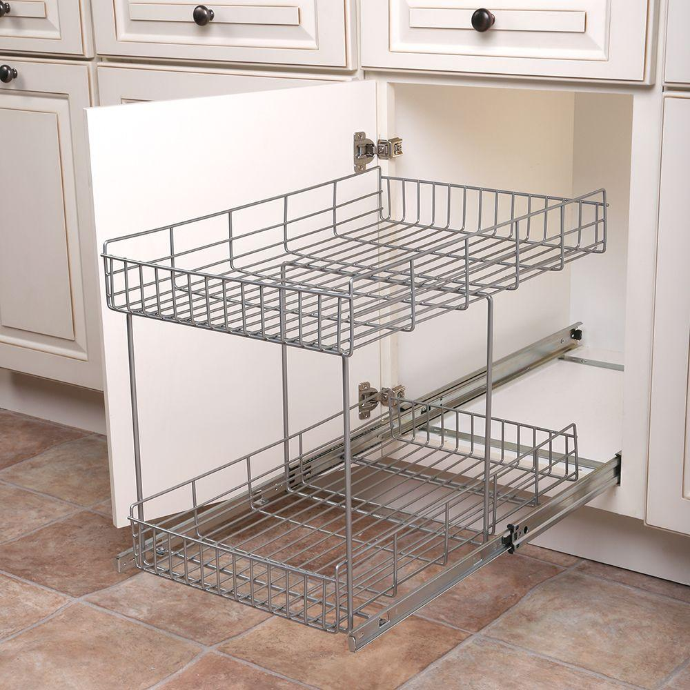 Kitchen Cabinets With Pull Out Shelves Real Solutions For Real Life 17 In H X 15 In W X 22 In D Half Shelf Pull Out Basket Cabinet Organizer In Silver