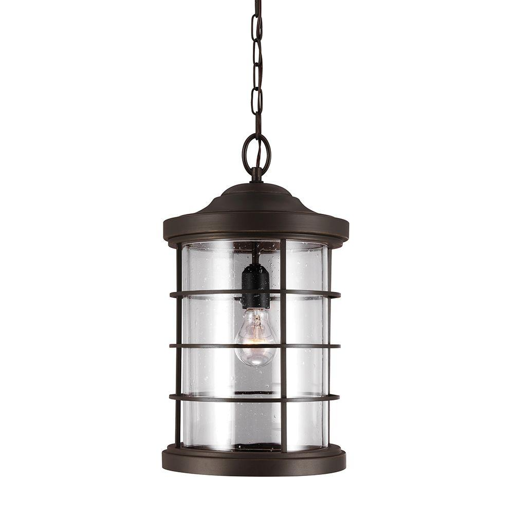 Outdoor Hanging Lamps Sea Gull Lighting Sauganash 1 Light Outdoor Heirloom Bronze Hanging Pendant With Clear Seeded Glass