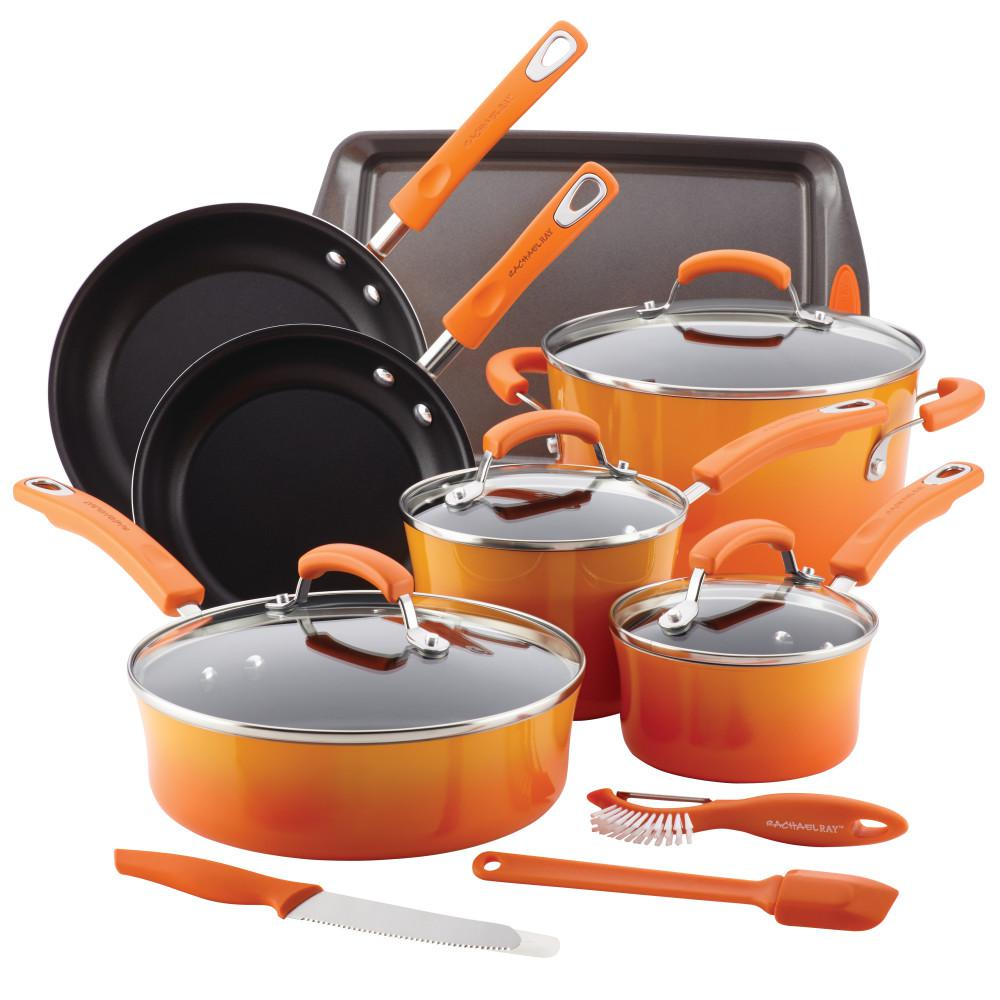 Qucina Bakeware Rachael Ray Classic Brights 14 Piece Orange Porcelain