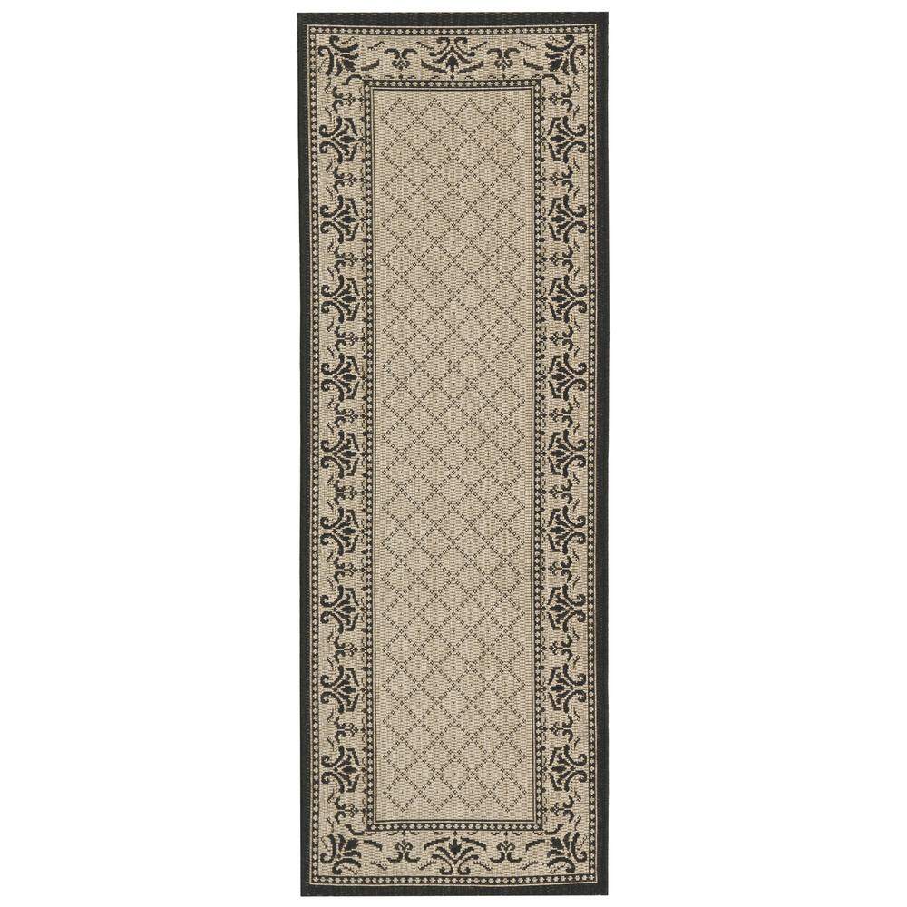 Safavieh Courtyard Safavieh Courtyard Sand Black 2 Ft X 10 Ft Indoor Outdoor Runner Rug