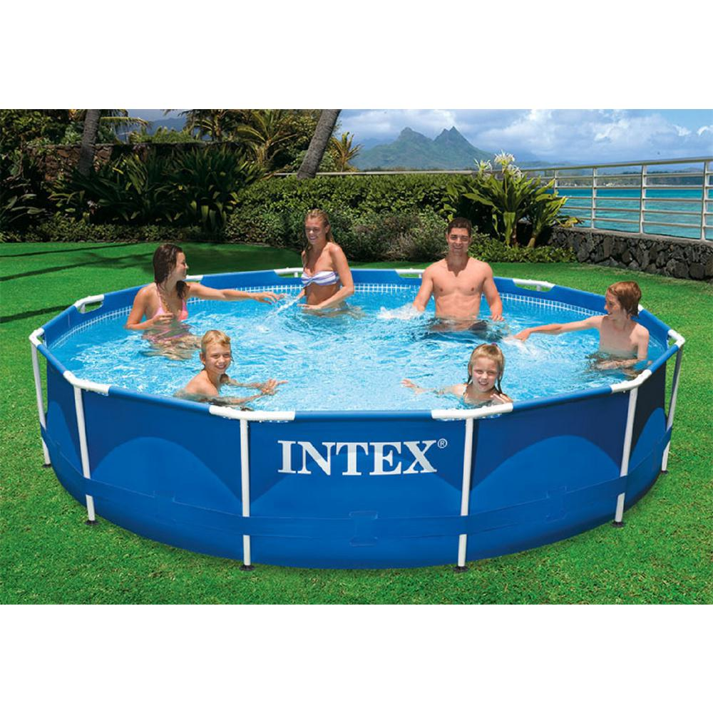 Intex Pool Frame Rund Intex 12 Ft Round X 30 In D Metal Frame Above Ground Pool With 530