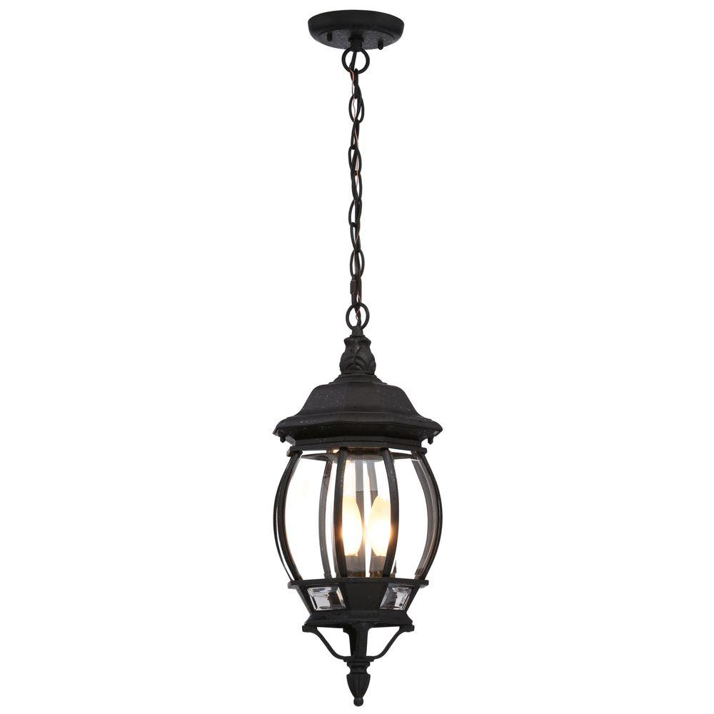 Outdoor Hanging Lamps Glomar Concord 3 Light Textured Black Outdoor Hanging Lantern