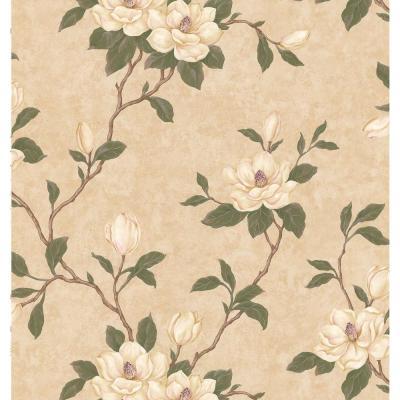 Brewster Kitchen Bath Bed Resource III Beige Magnolia Wallpaper Sample-137-57804SAM - The Home Depot