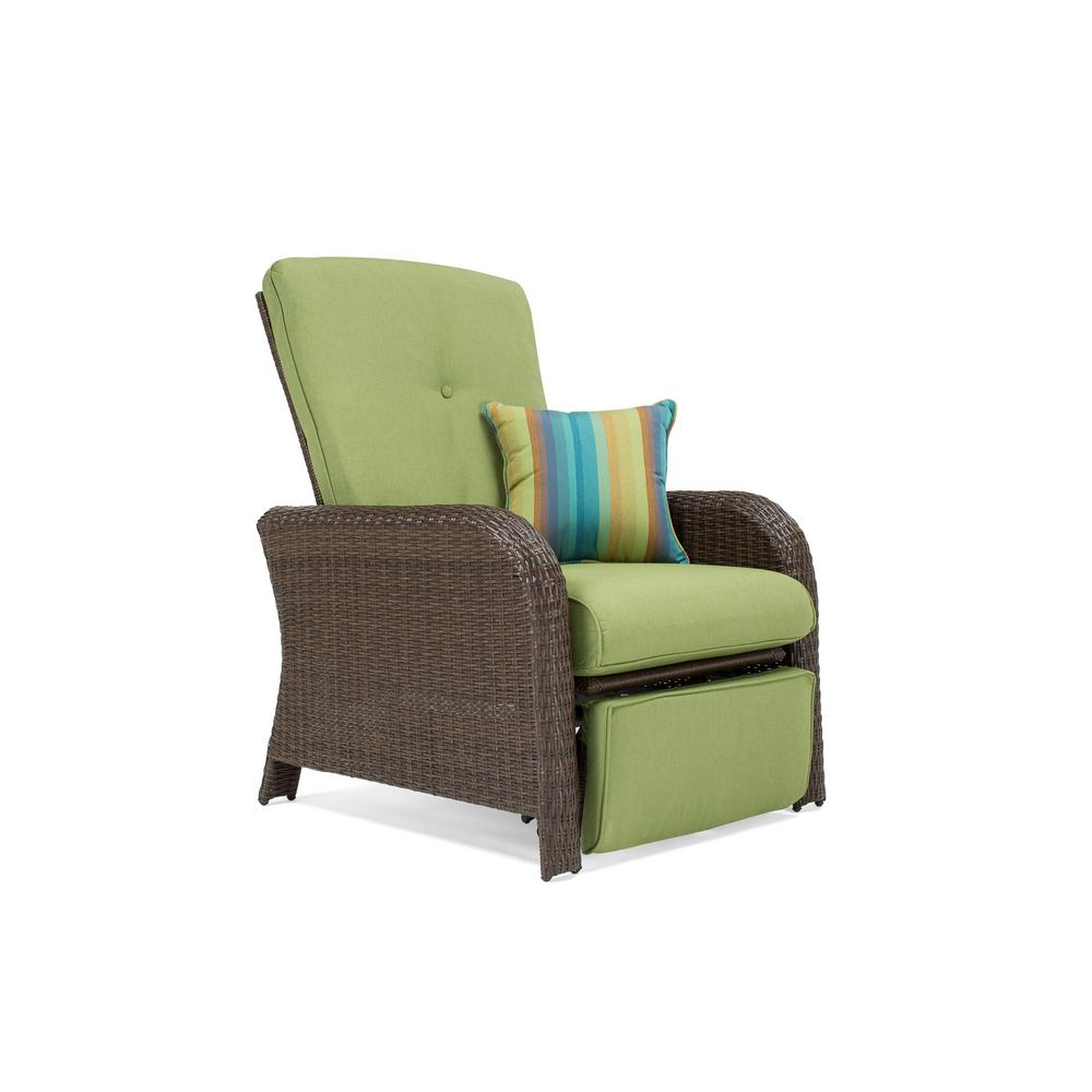 Patio Furniture Winnipeg Sawyer Wicker Outdoor Recliner With Sunbrella Spectrum Cilantro Cushion
