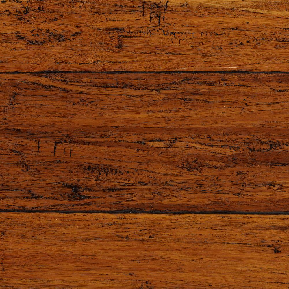 Plancher Home Depot Hand Scraped Strand Woven Harvest 3 8 In T X 5 1 8 In W X 36 In L Engineered Click Bamboo Flooring