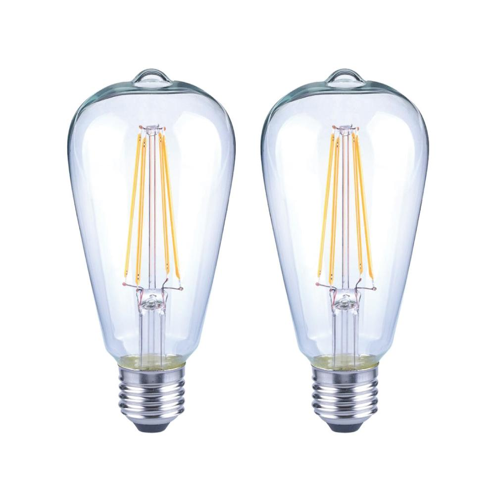 40 Watt Led Ecosmart 40 Watt Equivalent St19 Antique Edison Dimmable Clear Glass Filament Vintage Style Led Light Bulb Soft White 2 Pack