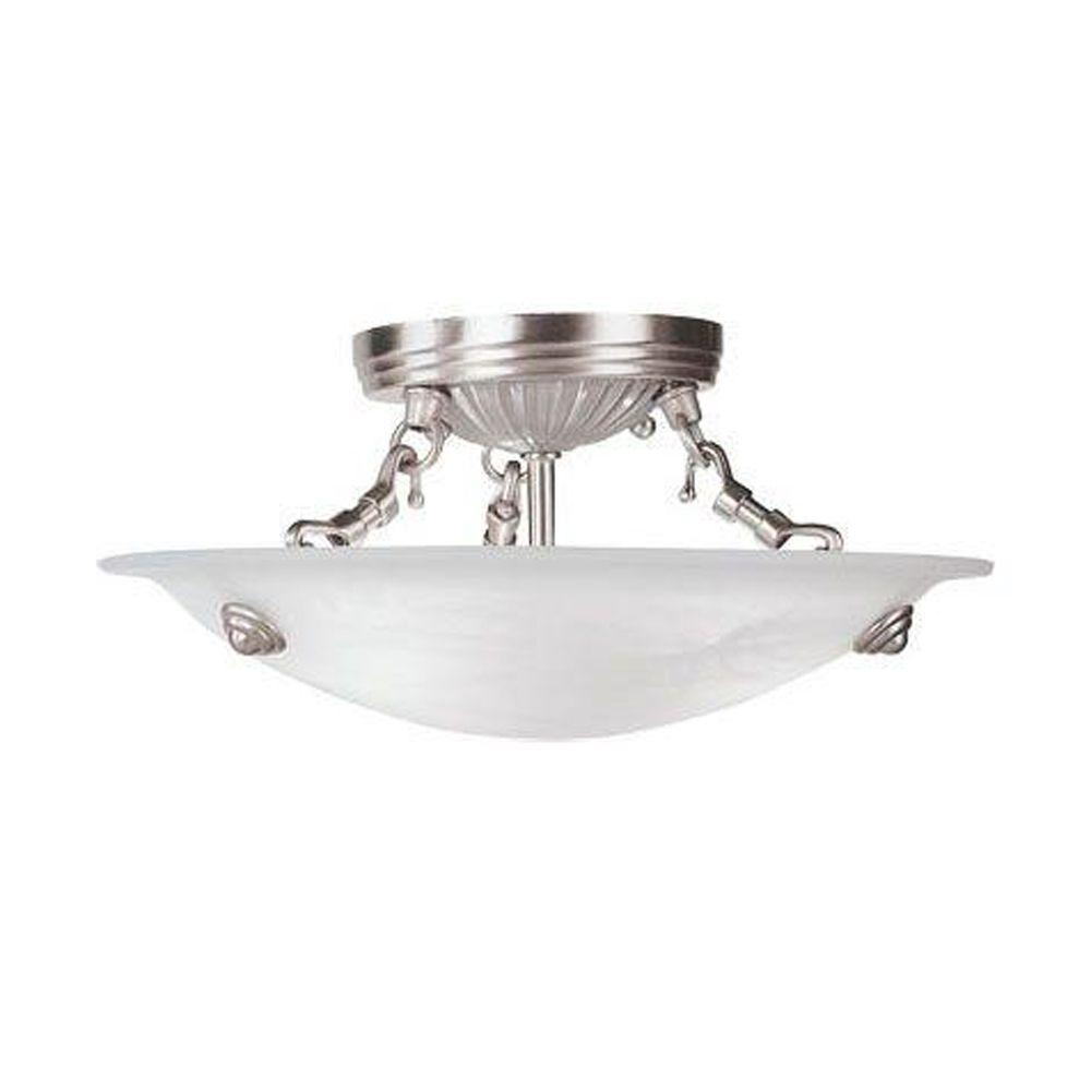 Affordable Lighting Canada Livex Lighting 3 Light Brushed Nickel Flush Mount With White Alabaster Glass Shade