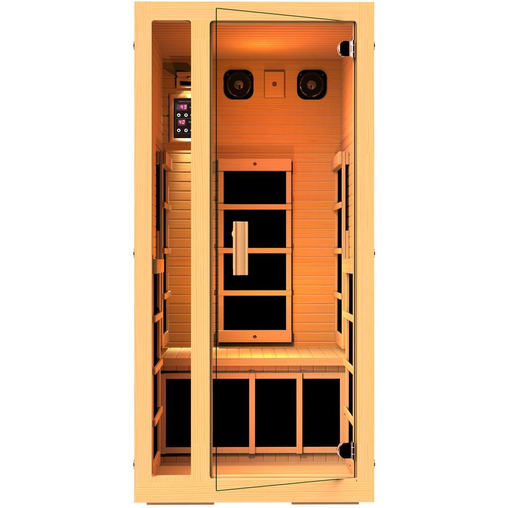 Sauna Led Jnh Lifestyles Joyous 1 Person Far Infrared Sauna With 6 Carbon Fiber Heaters Easy Plug N Play And Led Lighting