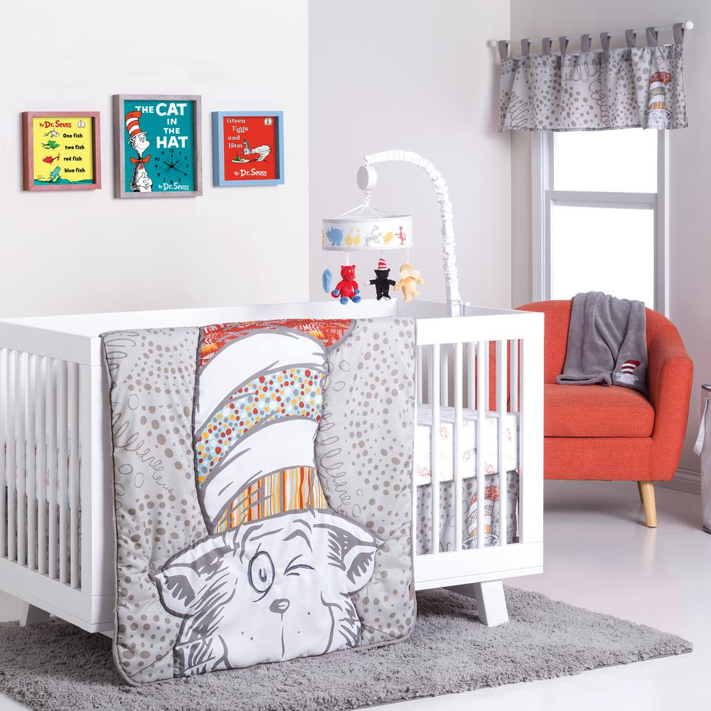 Full Crib Bedding Sets Trend Lab Dr Seuss Peek A Boo Cat In The Hat 4 Piece Crib Bedding