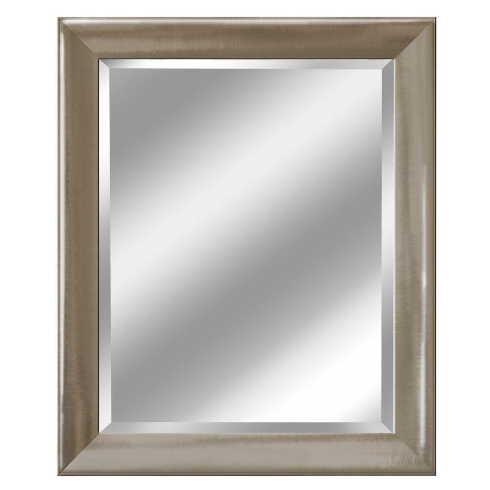 Decorative Brushed Nickel Mirror Deco Mirror 28 In X 34 In Transitional Mirror In Brush Nickel