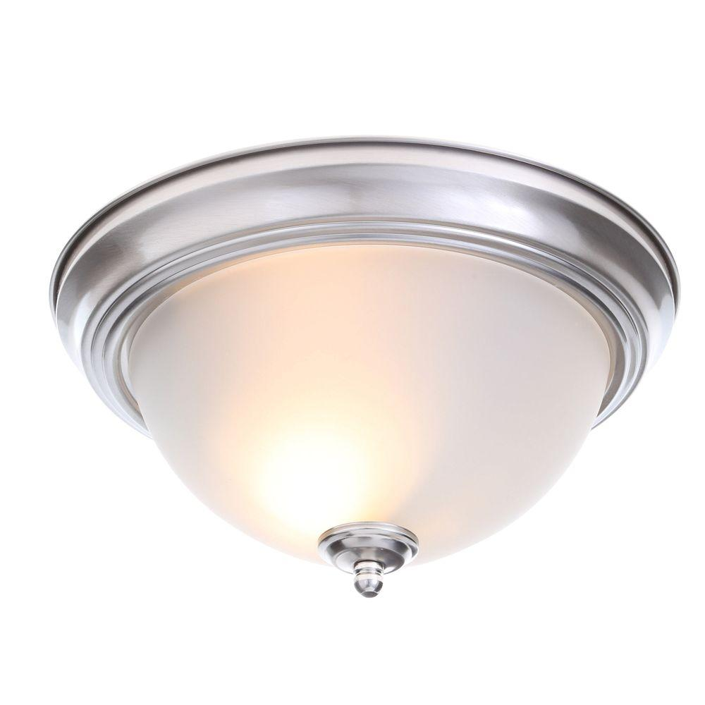 Lights Ceiling Commercial Electric 13 In 2 Light Brushed Nickel Flush Mount With Frosted Glass Shade 2 Pack