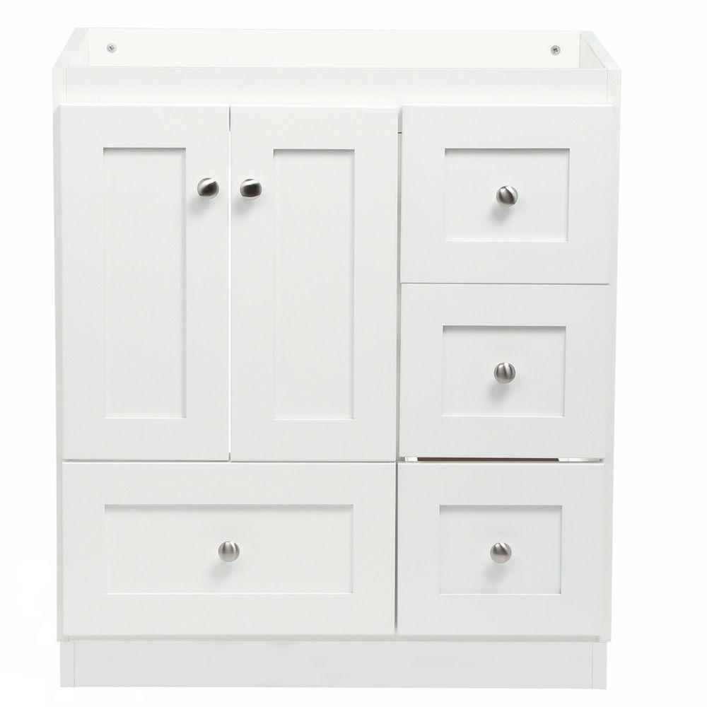 30 Vanity With Drawers Simplicity By Strasser Shaker 30 In W X 21 In D X 34 5 In H Vanity With Right Drawers Cabinet Only In Satin White