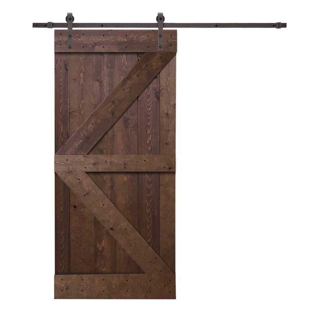 Barn Doors For Homes Calhome 36 In X 84 In K Style Knotty Pine Wood Barn Door With Sliding Door Hardware Kit