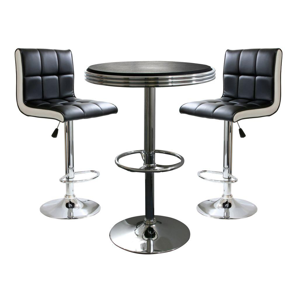 Table And Bar Stools Amerihome Retro Style Bar Table Set In Black With Padded Vinyl