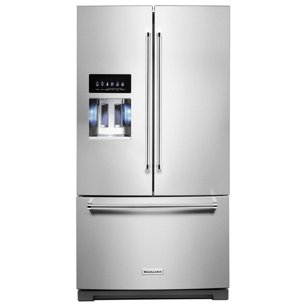 Kitchenaid Krff302ess Kitchenaid 27 Cu Ft French Door Refrigerator In Printshield Stainless With Exterior Ice And Water