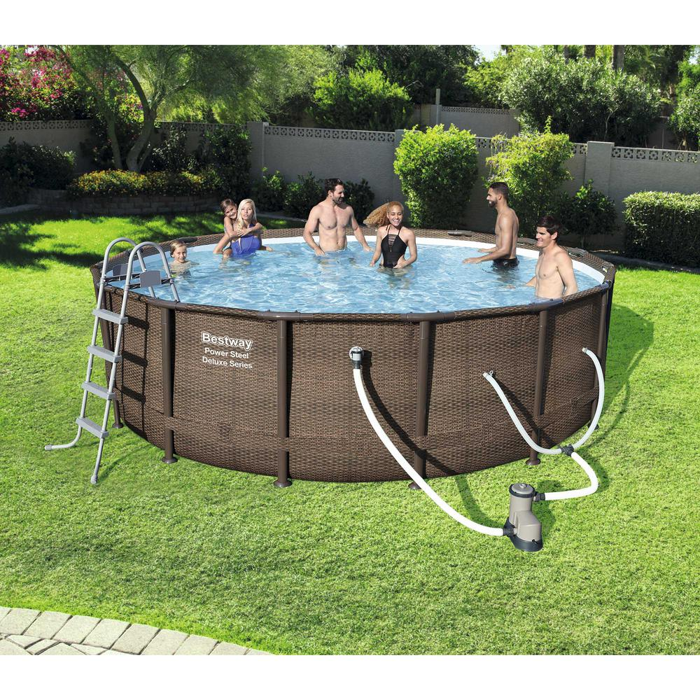 Jacuzzi Pool Deluxe Bestway Bestway Power Steel Deluxe Series 14 Ft X 42 In Round Pool Set