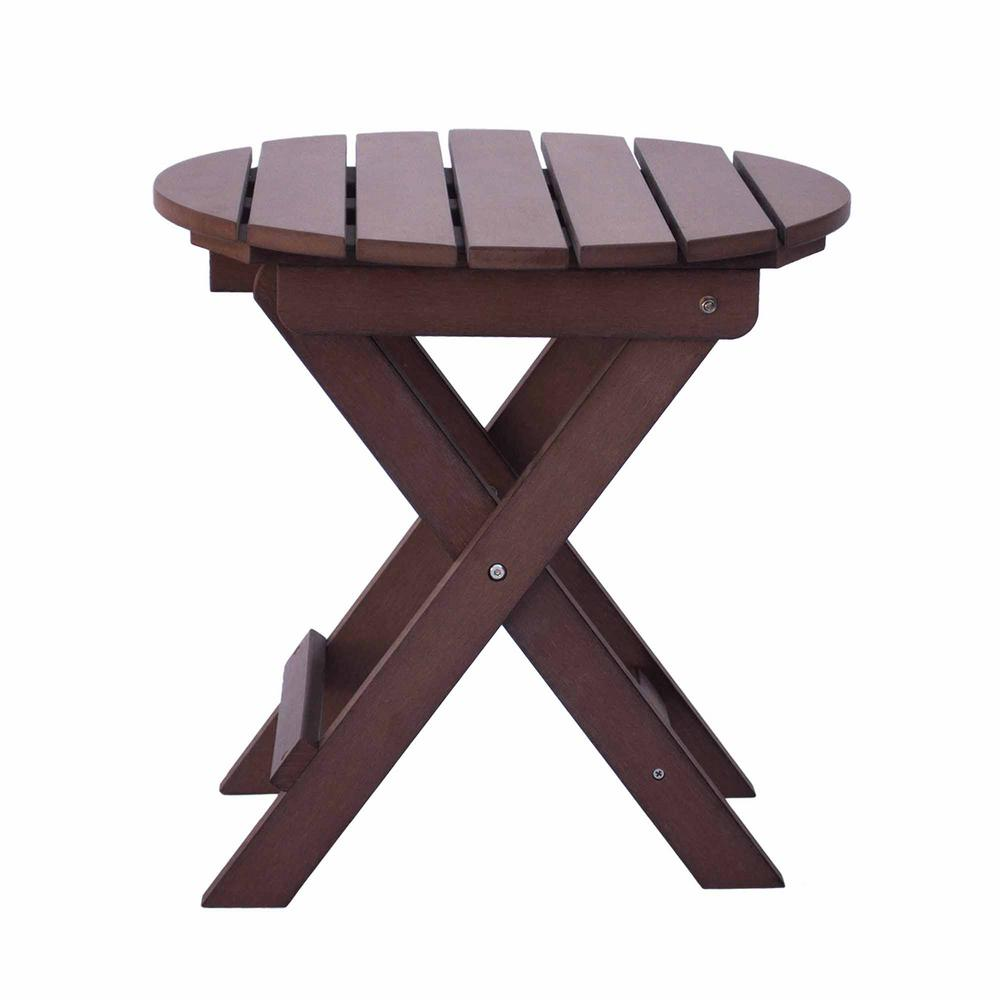 Round Plastic Tables Shine Company Adirondack Chateau Brown Round Plastic Wood Folding Table