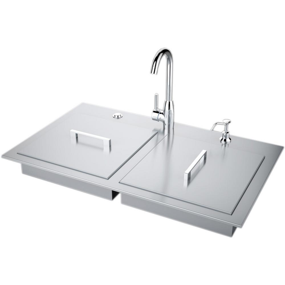 Sunstone 37 In Stainless Steel Double Sink With Built In