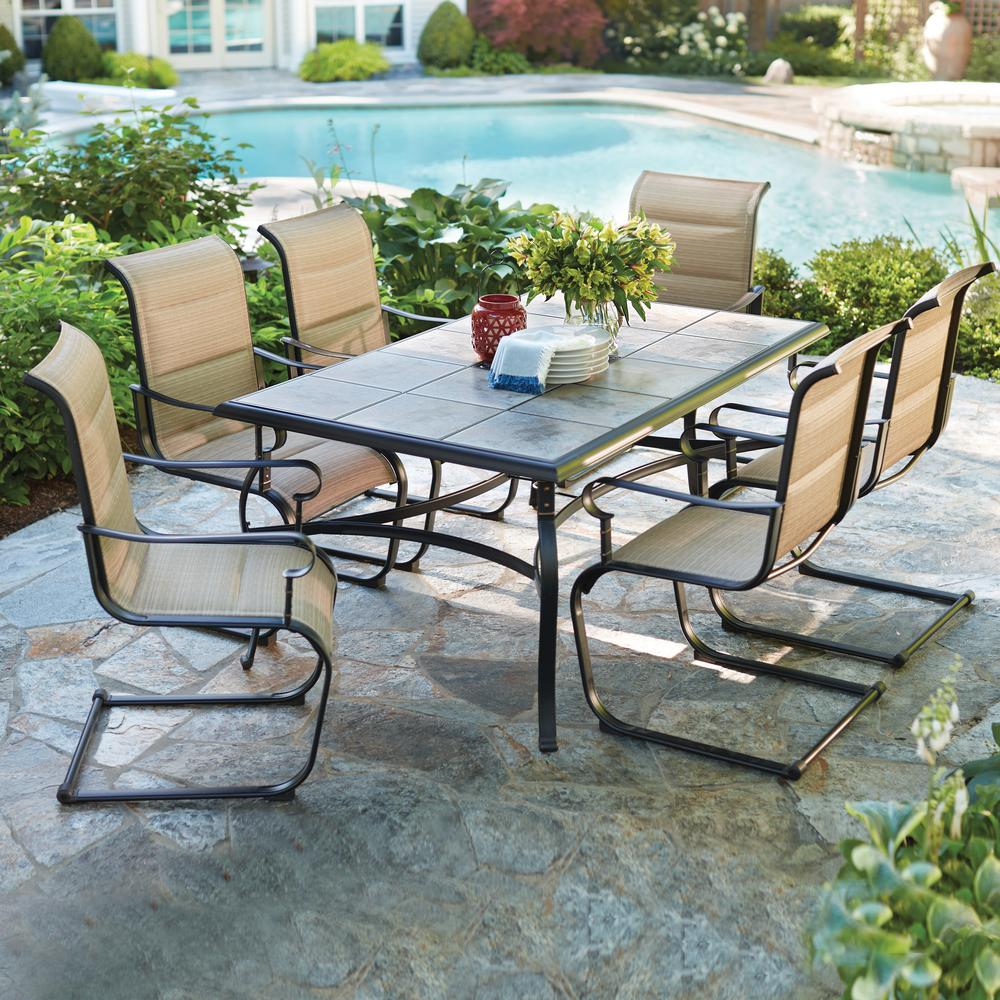 Outdoor Patio Furniture Dining Table Hampton Bay Belleville 7 Piece Padded Sling Outdoor Dining Set