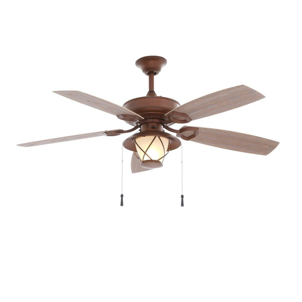Black And Gold Ceiling Fan Check Out Hampton Bay Glacier Bay 52 In Indoor Outdoor Rustic Copper Ceiling Fan With Light Kit Shopyourway