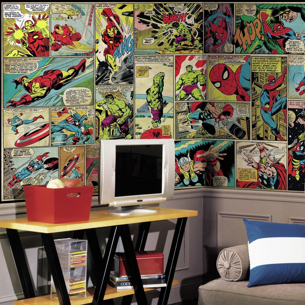 Comic Wall Decor 72 In W X 126 In H Marvel Comic Panel Xl Chair Rail 7 Panel Prepasted Wall Mural