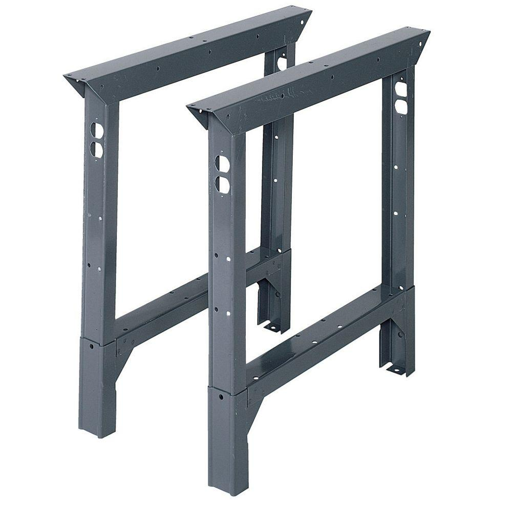 Edsal 33 In H X 2 In W X 30 In D Steel Adjustable Height Workbench Legs Abl30 The Home Depot