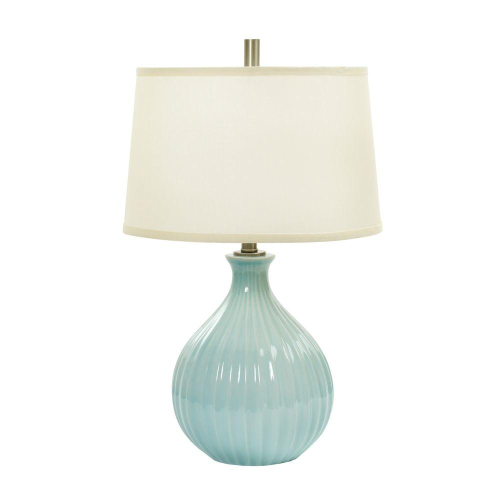 29.5 in. Heather and Gold Ceramic Table Lamp Inspired by