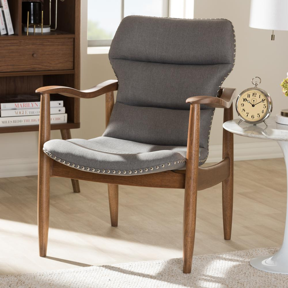 Baxton Studio Hadley Grey And Quotwalnutquot Brown Fabric Lounge