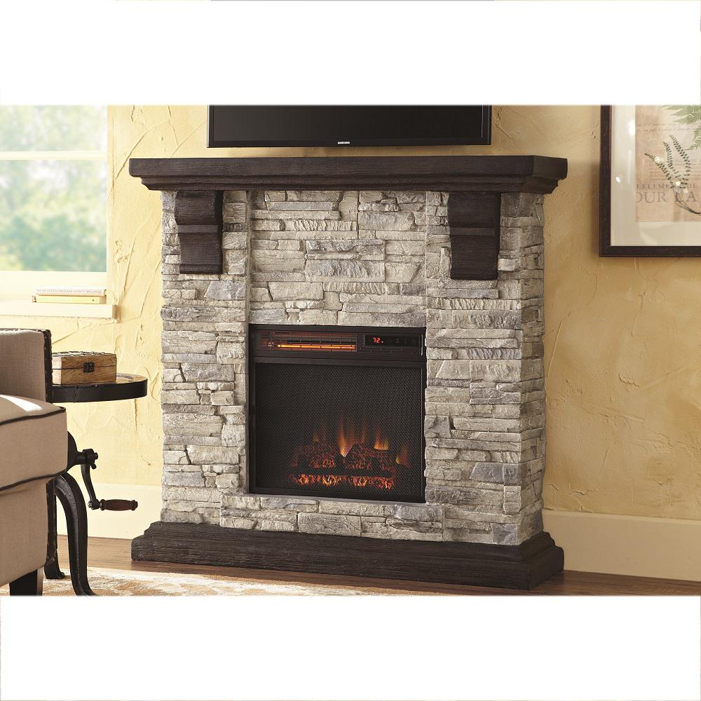 Fireplace Stone Home Decorators Collection Highland 40 In Media Console Electric Fireplace Tv Stand In Faux Stone Gray