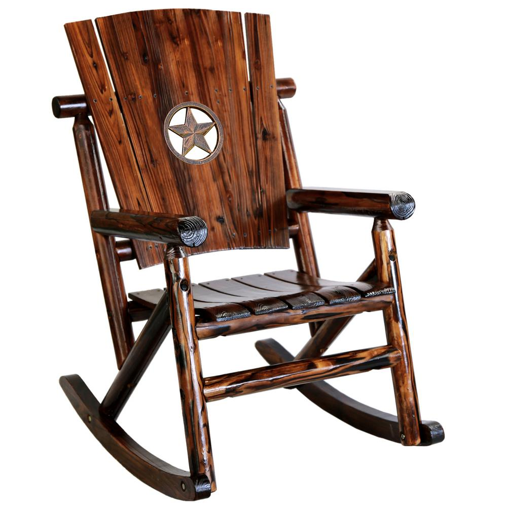 Patio Rocker Chairs Leigh Country Char Log Wood Patio Rocking Chair With Star Medallion