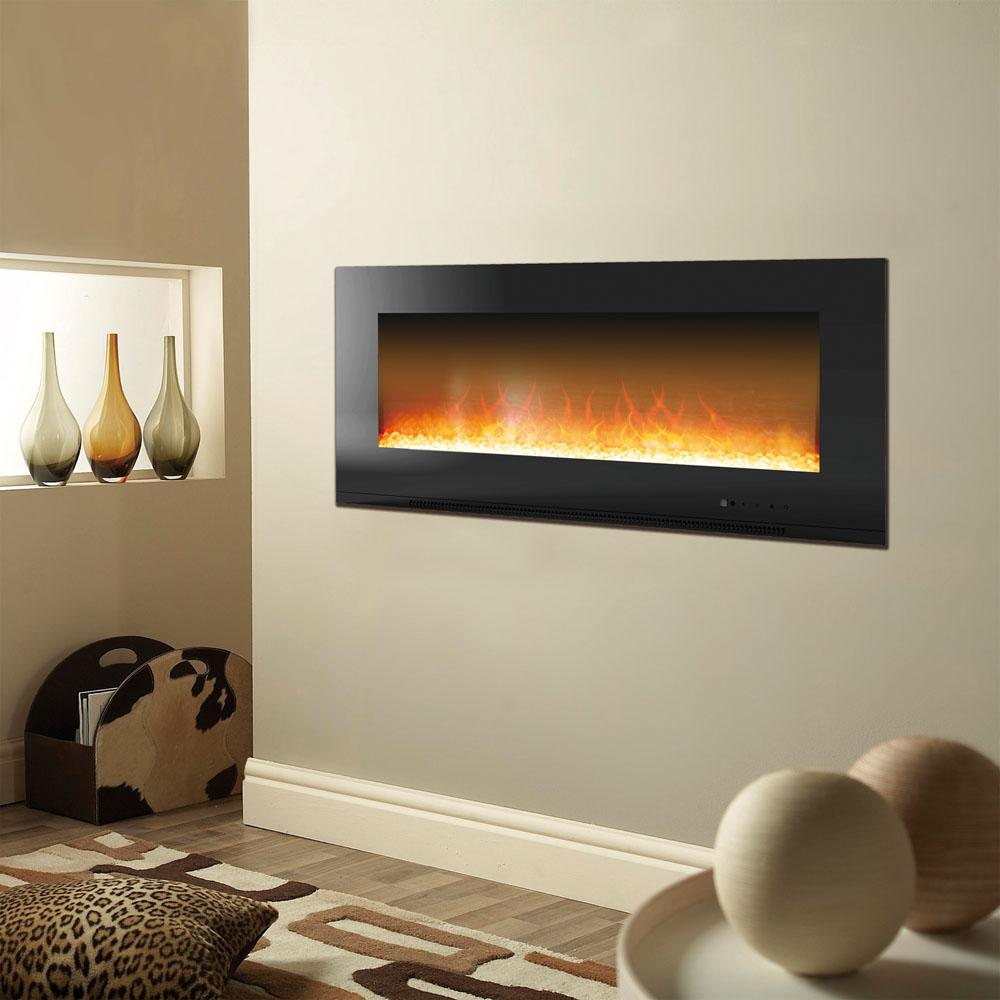 Electric Fireplace Built Into Wall Cambridge Metropolitan 56 In Wall Mount Electric Fireplace In Black