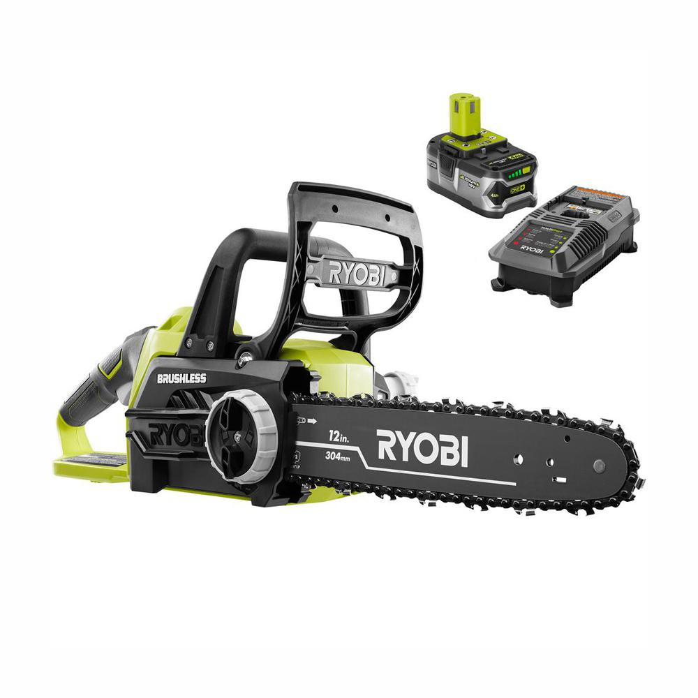 Gardena Online Planer Ryobi One 12 In 18 Volt Brushless Lithium Ion Electric Cordless Chainsaw 4 Ah Battery And Charger Included