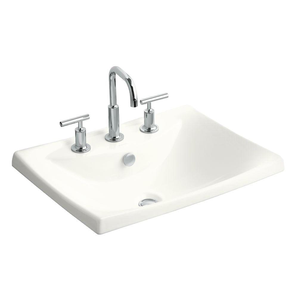 Kohler Escale Drop In Ceramic Bathroom Sink In White With