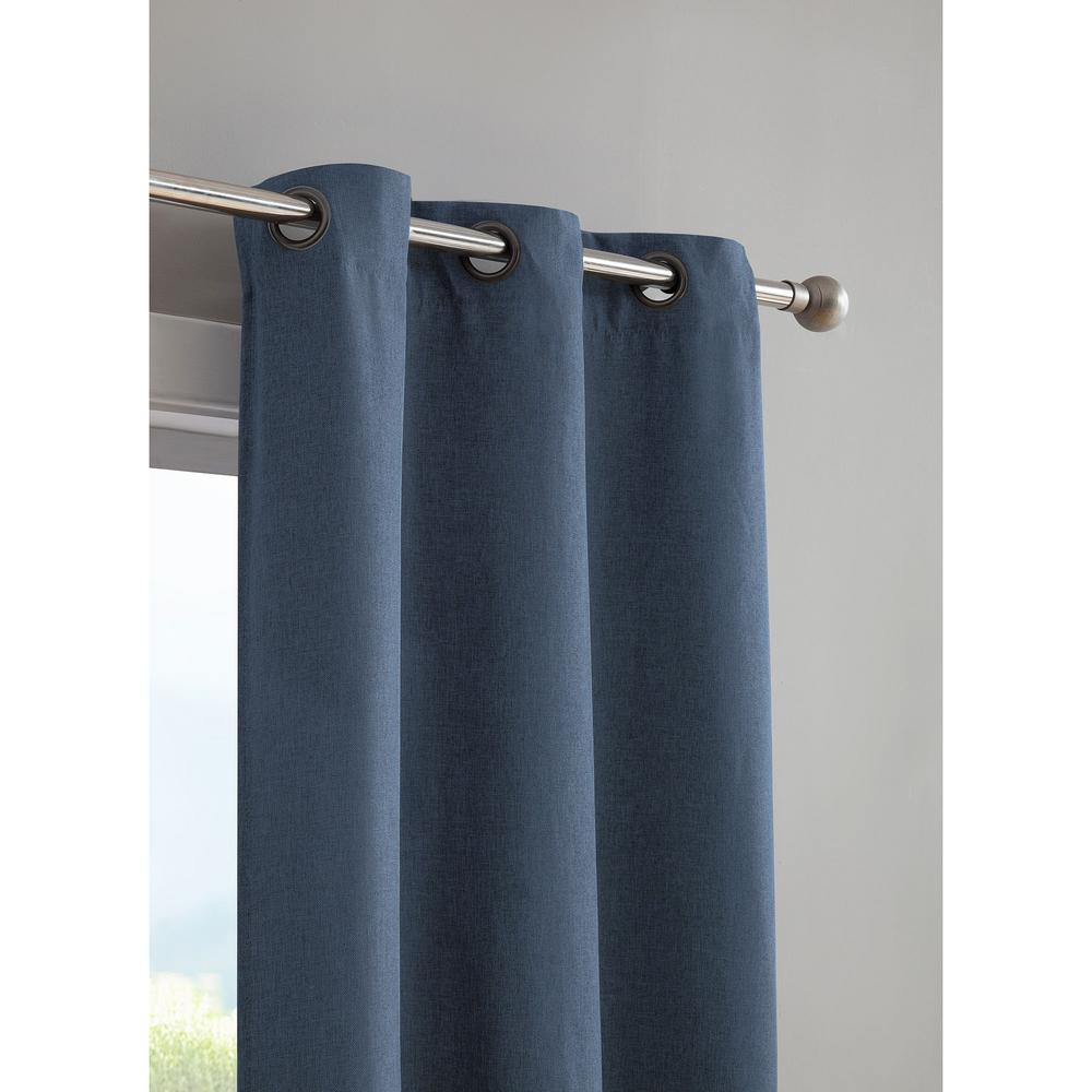 Curtain Insulation Fabric Bella Luna Henley Faux Linen Room Darkening 76 In X 84 In Grommet Curtain Panel Pair In Indigo
