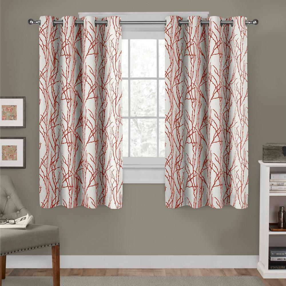 Orange Curtain Panels Branches 54 In W X 63 In L Linen Blend Grommet Top Curtain Panel In Mecca Orange 2 Panels